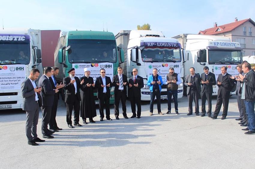 Konvoj od 15 šlepera i 350 tona hrane krenuo iz Sarajeva prema sirijskom narodu