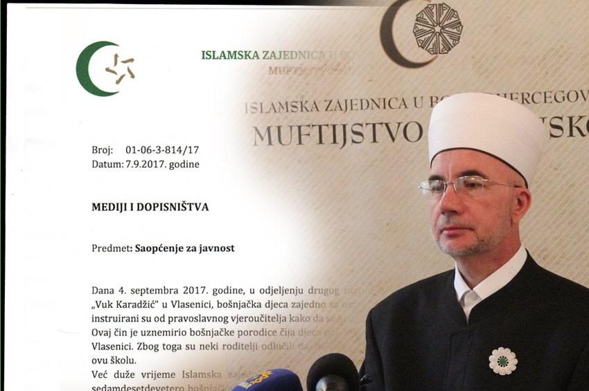 Saopćenje za javnost Muftijstva tuzlanskog - Bošnjačka djeca instruirana da se krste