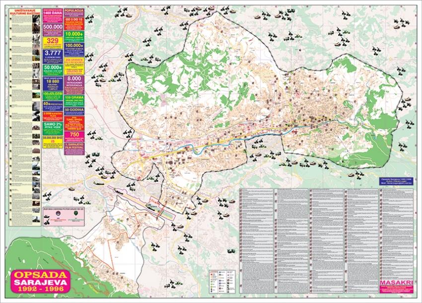 Mapa Opsade Sarajeva S Najvaznijim Podacima